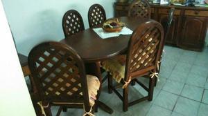 Juego de Algarrobo (Mesa / 6 sillas)