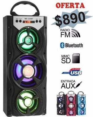 Parlante Recargable Con Bluetooth, Fm, Usb, Sd, Luces Led