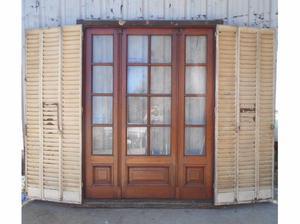 Antigua portada de madera en cedro con celosías (168x210cm)