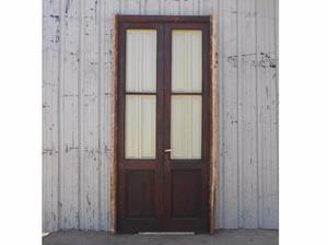 Antigua puerta de madera en cedro con postigos (127x264cm)