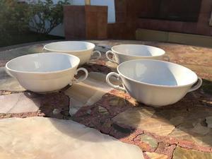 Cuatro compoteras blancas de porcelana Verbano