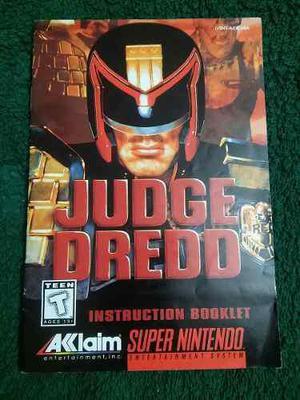 Jugde Dredd Snes Super Nintendo Solo Manual En Ingles