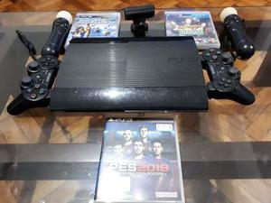 Play Station 3 Slim 232 Gb + 3 Juegos + 2 Joystick + 2 Move