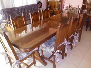 juego de comedor de algarrobo, mesa y 8 sillas