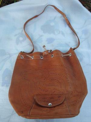 Cartera bolso de cuero color suela marron medidas largo 36cm