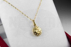 Conjunto Oro 18k Cadena Singapur C/ Dije Sol Mujer 1.5 Grs