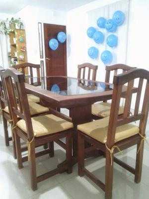 Juego de mesa de algarrobo y vidrio + 6 sillas