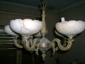 Lámpara de bronce con 5 tulipas