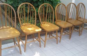 Juego 6 sillas windsor antiguas madera de roble