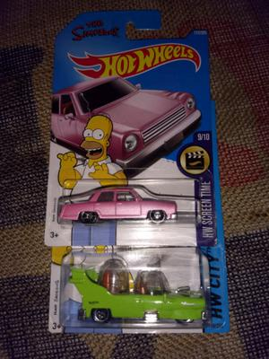 2 hot wheels the simpsons y homero movil