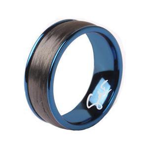 Anillo Gdf Men De Acero Azul Con Fibra De Carbono