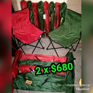 Combo 2 sillas plegables de camping con bolso viajero x $680