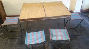 Mesa de camping plegable con 4 sillas