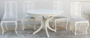 El Restaurador - Mesa redonda y 4 sillas Estilo Reina Ana