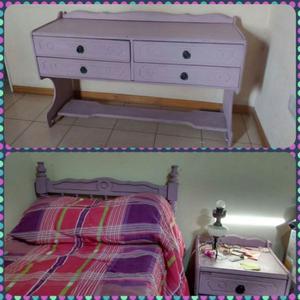 Juego de dormitorio: cama una plaza, mesa de luz y cómoda