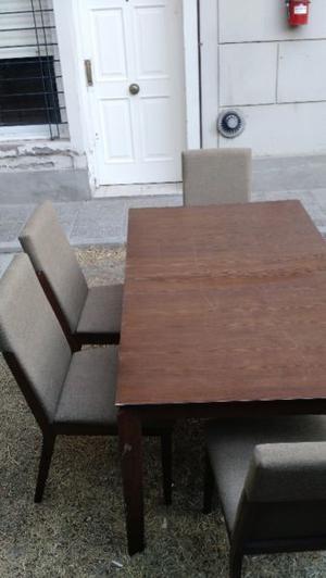 Set comedor: Mesa alargable madera + 6 sillas madera!
