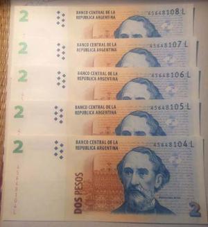Billetes Argentinos De 2 Pesos Sin Circular Y Otros
