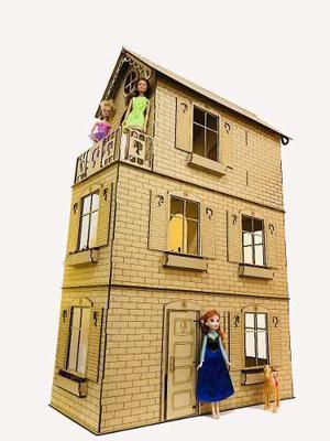 Casita De Muñecas Barbie Fibrofacil Con 16 Muebles