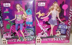 Combo Muñeca Barbie Bicicleta+barbie Coche De Bebe!
