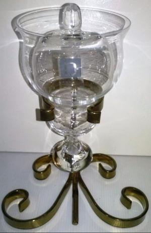 Espectacular porta vela de cristal y bronce 612 grs