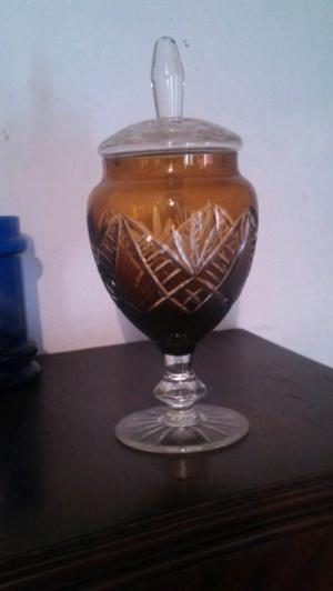 Cafetera con mechero florero de cristal caramelera de