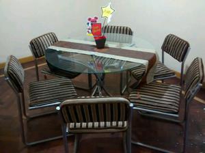 Mesa de vidrio y sillas de pana excelente estado