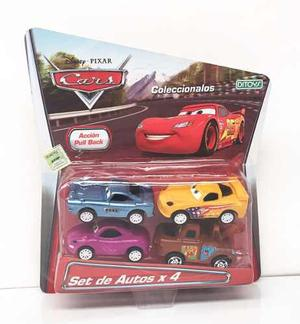 Cars Autos Set De 4 Autitos Pull Back Licencia Disney Ditoys