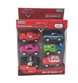 Cars Autos Set De 6 Autitos Pull Back Licencia Disney Ditoys
