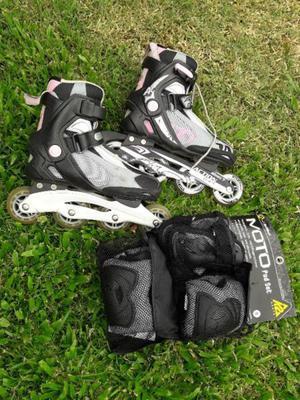 Rollers Action Sport Abec 7 9.2 + Set De Protección