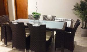 Juego De Mesa De Rattan Muebles Jardín Exterior Aluminio