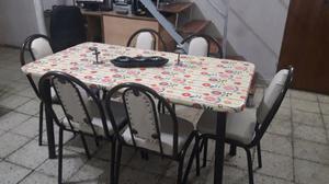 Mesa mas 6 sillas lkevo a do.icilio