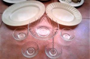 vendo juego de compoteras mas bowl de vidrio antiguos y dos