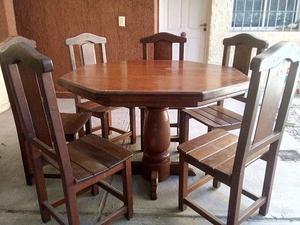 Juego de mesa y 6 sillas de algarrobo (usado)