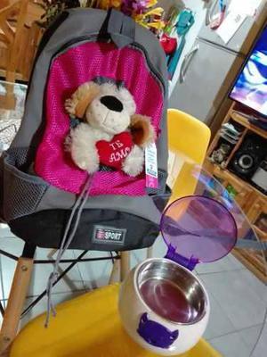 Mochila Porta Cachorro + Comedero Automatico