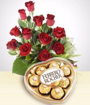 Romantico Combo 12 Rosas Y Bombones Envio Sin Cargo Capital!