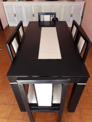 Mesa wengue de 2 x con sillas tapizadas en posot class for Mesa comedor wengue