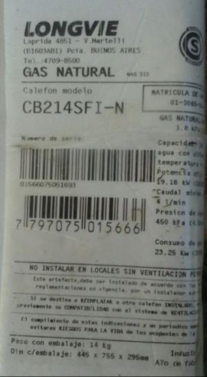Calefon A Gas Natural Longvie cb214sfi 14 litros