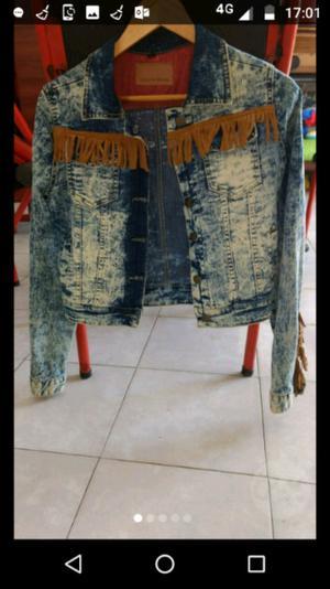 Campera jeans con flecos