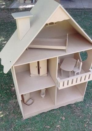 Casita para Barbies con balconcito y muebles (NUEVA)