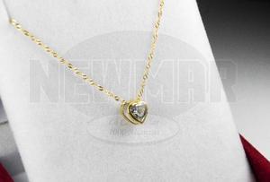 Conjunto Corazón Con Piedra Y Cadena Oro 18k 45cm Mujer
