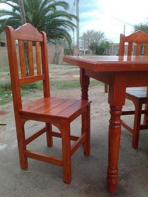 Juego de comedor mesa torneada con seis sillas, NUEVOS¡¡¡