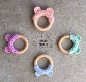 Mordillo Montessori Amigurumi A Crochet Y Madera Natural