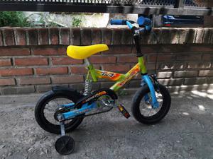Bicicleta rodado 12 con suspension y ruedas de apoyo nene