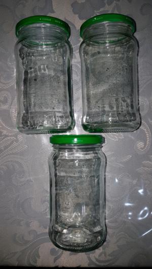 Frascos de vidrio de 390cc con tapa, ultimas 60 unidades !!!
