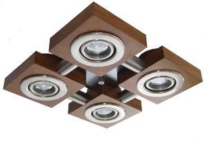 Plafon de 4 leds 7w en acero inoxidable y madera natural