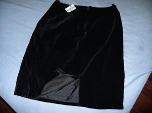 falda terciopelo verdadero/pana negro con etiqueta sin uso