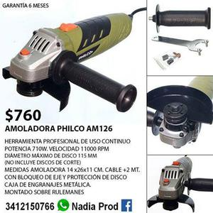 Amoladora angular philco 710w 1100 rpm. NUEVA con garantia.