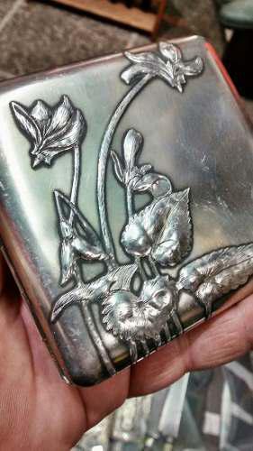 Cigarrera+fosforera Art Nouveau Plata Vermeil Bellisimas!!!