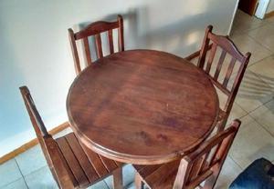 Juego de living de Algarrobo, 4 sillas y mesa redonda. Ver