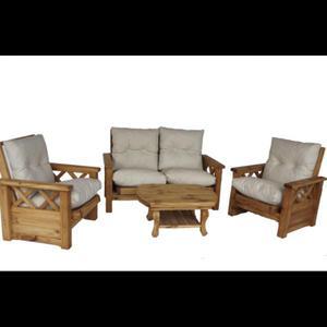 Juego de living sillones futón estilo campo pino reclinable
